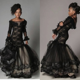 Barato Vestidos Manga Longa Desfile Barato-Pretty Mermaid Flower Girl Dresses Cheap Black Lace de manga comprida Girls Girls Dressing Dress Length Custom Customized Communication Wear