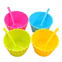 cute ice cream cups UK - New Ice Cream Bowls And Spoons Vibrant Colorful Cute Durable Dessert Cup For Kids Free Shipping (7)