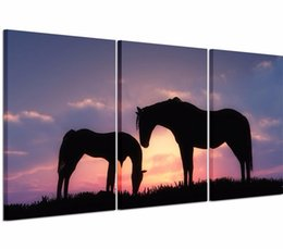 $enCountryForm.capitalKeyWord Canada - 2016 New Unframed 3P lanscape Two Horses Modern Wall Decor Canvas Print oil Painting For Home Decorate Free Shipping