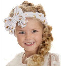 Bandes Larges Pour Les Filles Pas Cher-12 couleurs Baby Girls Dotted Headbands Enfants Big Wide Gold Dot Bow Head bands Enfants Infantile Knotted Hair Accessoires Hairbands 20pcs KHA266