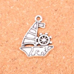 $enCountryForm.capitalKeyWord Canada - 48pcs Antique Silver Plated ship boat Charms Pendants for European Bracelet Jewelry Making DIY Handmade 28*22mm