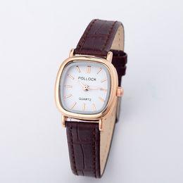 $enCountryForm.capitalKeyWord Canada - New Gold Dress Women Watches Square Shape Small Dial Slim Leather Couple Quartz Watches Ladies Wristwatch Female Clock
