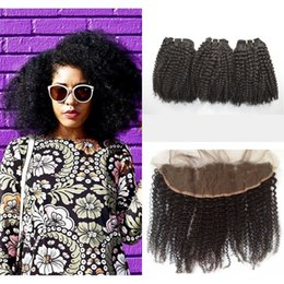 $enCountryForm.capitalKeyWord NZ - Peruvian Lace Frontal Closure With Hair Bundles Afro Kinky Curly Human Hair Weave Closure 4pcs Lot G-EASY