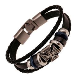 China Fashion Jewelry Relief Cross Alloy Leather Bracelet Men Casual personality PU Woven Beaded Bracelet Vintage Punk Bracelet B0448 suppliers