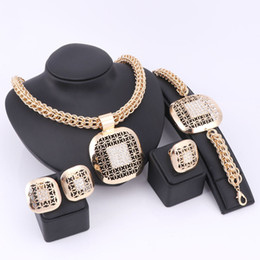 Vintage Green Jewelry Sets NZ - New Trendy Hollow Jewelry Sets For Women Zinc Alloy Necklaces Lady Bracelets Rings Stud Earrings Gold Plated Vintage Accessories