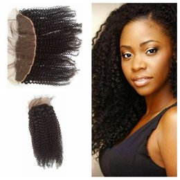KinKy curly front closure online shopping - G EASY Cheap Indian Lace Frontal Kinky Cury x4 Lace Front Closure Pieces With Bleached Knots Human Swiss Lace Frontal