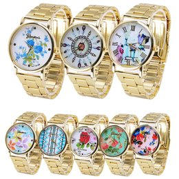 Robes Imprimées En Or Pas Cher-Mode Design femmes montres roses imprimées Luxe en acier inoxydable quartz occasionnel Montres-bracelets en or Ladies Dress Famous watch gifts 2017 new