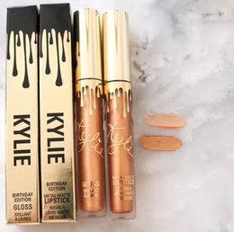 Paquete De Lápiz Labial Baratos-2016 Kylie Jenner Cumpleaños Edición LORD Metal Mate Lip Gloss Kit Maquillaje Líquido Lápiz Brillo Labial Brillantes Gold Packing DHL Free Shipping
