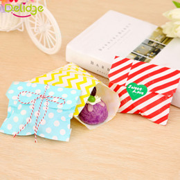 Dots Gift Paper Canada - Wholesale- 25 pcs set Cake Paper Bag Colorful Polka Dot Spotty Paper Bag Without Handle Party Biscuit Popcorn Cake Wedding Gift Paper Bag