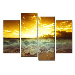 $enCountryForm.capitalKeyWord UK - Amosi Art-4 Pieces Wall Art Modern Sea Wave Seascape of Painting is Print on Canvas For Decorating Hotel,Home,Office with Wooden Framed