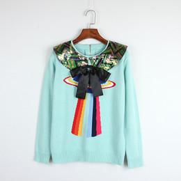 93d1558b2 Frete Grátis Luz Azul Camisola de Mangas Compridas das Mulheres Bow  Lantejoulas Pullovers Mulheres blusas de inverno feminina DH081