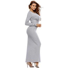 8d19a2a97a Suéteres de las mujeres Vestidos largos para el invierno Vestido de suéter  de manga larga de punto con o-cuello Botones de moda Ropa larga femenina  Gris ...