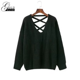 Pull À Tricoter Sans Dossier Pas Cher-Sexy backless tricot pull Fashion lace up automne hiver chandail femmes tops Casual évider pull pull Femme Livraison gratuite