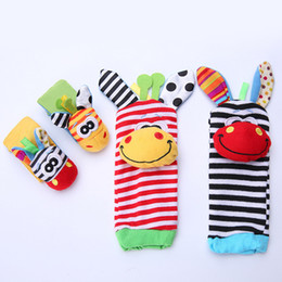 feet soft toys UK - 10 Pairs lot Animal Wrist And Sock Rattle Baby Infant Developmental Soft Toy foot finder Baby toy baby sounding toys