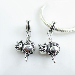 Wholesale Jewelry Silver Plated Erect Tail Cat Charms Dangle Pendants For Diy Dangle Charms Bracelets