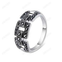 Brand Cason Women fashion jewelry Mosaic block crystal Women rings Platinum  Plated Black colour Drop Shipping RJ-0036 a174adc15252