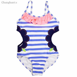 Barato Bebé De Luz Azul Swimwear-Atacado- Baby One Piece Girls Swimwear Light Blue Striped with Hollowing Design 1-14Y Kids Swimsuit Crianças Natação desgaste sw0607 UPF