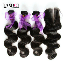 Pure Peruvian Body Wave Hair Canada - Peruvian Body Wave Virgin Human Hair Weaves With Closure Unprocessed Peruvian Wavy Human Hair 3 Bundles With Top Lace Closures Natural Color