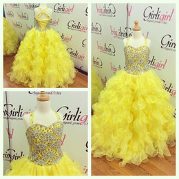ball gowns girl size 12 Canada - 2016 Girls Pageant Dresses Size 14 with Tiered Skirt and Scalloped Beading Bodice Real Photo Ball Gown Yellow Pageant Gowns for Juniors