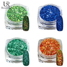 Glitter 36 Colors UK - Wholesale- 2016 New 1 Pc 3g Jar DIY Shinning Chrome Powder Nail 4 Colors Nail Art Tip Decoration Pigment Glitters Dust SN33-36