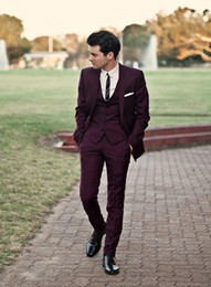 Classic Suit Red Navy Canada - Dark Red Groomsmen Tuxedos 2016 Cheap Slim Fit Gorgeous Wedding Men's Suit Formal Party Tuxedos (Jacket+Pants+Tie+Vest)