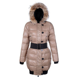 warmest down coats for women UK - High Quality Winter Down Coat Sashes Jacket for Women Long Raccoon Fur Slim Fashion M Hooded Clothes Brand Warm Outwear Parkas Purple Colors