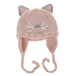 6191fa447a8 Knitted hats animals online shopping - 2017 Cartoon cute Cat Children Caps  hats Hand Knitted Caps