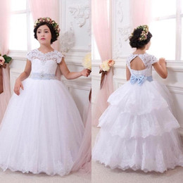 Discount evening gowns for little girls - First Communion Dresses For Girls Lace Flower Girl Dresses Open Back White Girls Pageant Dresses Little Girls Evening Go