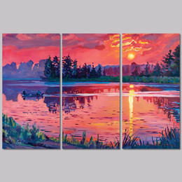 $enCountryForm.capitalKeyWord NZ - 3pcs set red landscape decoration sunshine lake forest wall art pictures mountain Canvas Painting print living room unframed
