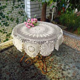 Crochet Round Cloths NZ - Handmade 90 CM Round table cloth, crochet pattern table cloth round, vintage round tablecloth for home decorative af020