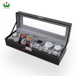 $enCountryForm.capitalKeyWord Canada - Large 6 Slot PU Leather SENIOR Watch Box Display Case Organizer Glass Top Jewelry Storage ORGANIZER BOX BLACK WITH WHITE STICHING