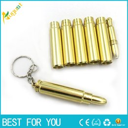 keychain bullet Canada - MINI Funky Bullet Metal Pipe Smoking Pipe Keychain Pipe Gold Color Promotion Gift for men also offer titanium quartz nail grinder