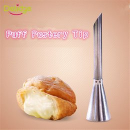 Pastry Syringe Decorator Canada - 1 pc Stainless Steel Puff Nozzle Tip Long Cake Decorating Tip Sugar Craft Icing Piping Pastry Tips Puff Syringe Machine