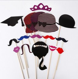 Wholesale New Photo Props Set DIY Photo Booth Props Wedding Souvenirs China Cute With A Bamboo Stick Mustache Lips Decor Party Supplies
