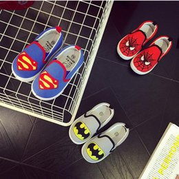 Zapatos de hombre araña para los niños Baratos-Niños Superman Spiderman Slip-on Causal Zapatos Halloween Baby Round Toe Walker Soft Zapatos Soled Primavera Otoño Niño Zapatos HX 001