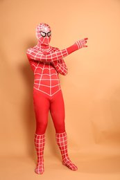 Barato Terno Spiderman Zentai Crianças-(D2-011) Top-high Quality Unisex Adulto Kids Full Body Red Lycra Spandex Superhero Spiderman Zentai Suits Halloween Costume
