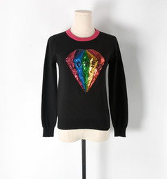 Women Sequin Jumper Canada - Fashion Women Sweaters and Pullovers 2017 Fall  Winter Chic Diamond Gemstone 885860441