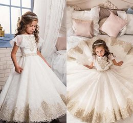 Angels pAgeAnt dress online shopping - Angel Princess White Flower Girl Dresses With Champagne Lace Applique Arabic Girl Pageant Gowns Children Formal Party Dresses Cheap
