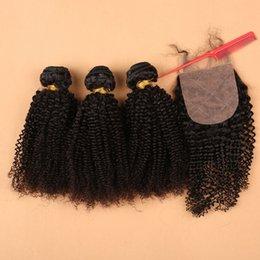 $enCountryForm.capitalKeyWord NZ - DHL Free Shipping Unprocessed 100% Human hair,No Shedding Virgin Brazilian Hair Kinky Curly bundles with silk base closure hair