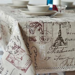 Discount table cloth sizing - Linen Table Cloth Woven Printed Europe Eiffel Tower Home Outdoor Party Size 60*60cm 140*220cm Christmas Toalha De Mantel