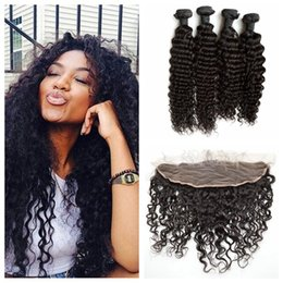 Discount cambodian virgin hair deep waves - Beyonce Curly Lace Frontal Closure With Indian Virgin Hair Weave Bundles Unprocessed Human Hair Indian Deep Wave Lace Fr