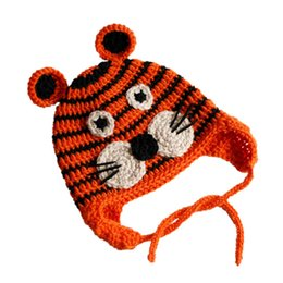 crochet tiger hat Australia - Lovely Knit Tiger Hat,Handmade Crochet Baby Boy Girl Wildlife Animal Hat,Infant Earflap Winter Cap,Newborn Toddler Photography Prop