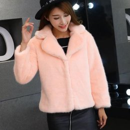 Barato Vendas De Vison-Hot venda Mulheres Faux Fur Coat 2017 Winter Womens Luxo Fake Mink Fur Flurry Coat Sexy Ladies Wear Espessura Warm Faux Fur Jacket J393