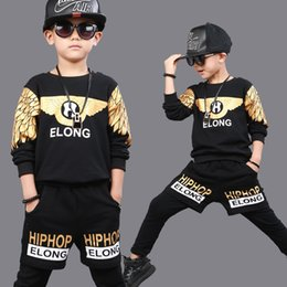 jazz boys clothes Canada - KIds Children Ballroom Print Modern Ballroom Jazz Hip Hop Dancewear Boys Dance Costumes Harem Outfits Clothing Top&Shorts