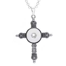 $enCountryForm.capitalKeyWord Canada - Best Quality! Cross Pendant DIY Button Necklace with Stainless Steel Chain Collar Interchangeable 18mm Ginger Jewelry for women men CC-77
