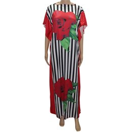Chinese  tilapia new designs striped women summer casual dress maxi long fashion rose flower print loose femme vestidos ankara dress manufacturers