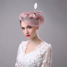 China Fascinator Wedding hairpin Flower Feather Bow Hair Accessories Bridal Head Hats For Wedding Party Christmas Veils Hairbands Vintage suppliers