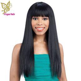 $enCountryForm.capitalKeyWord Canada - Unprocessed Virgin 100% Brazilian Hair Yaki Straight Front Lace Human Hair Wig Glueless Full Lace Human Hair Wigs with Bangs
