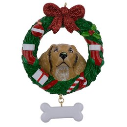 $enCountryForm.capitalKeyWord Canada - Yellow Labrador Retriever Resin Shiny Christmas Ornament with Wreath Hand Painted and Easily Personalized for gift or home decor