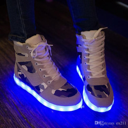 neon shoes for women 2018 - wholesale cheap lights up led luminous casual shoes high glowing with charge simulation sole for women & men adults neon